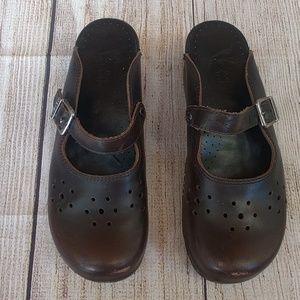 Dansko Slip On Leather Mary Jane Mules Sz 41 10.5